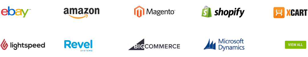 Connect Shopify, WooCommerce, BigCommerce, Magento, LightSpeed Retail, Revel iPad POS, Clover POS, Square, Acumatica, Amazon, eBay, X-cart!