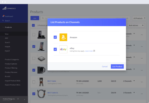 Channel management for Amazon and eBay by BigCommerce